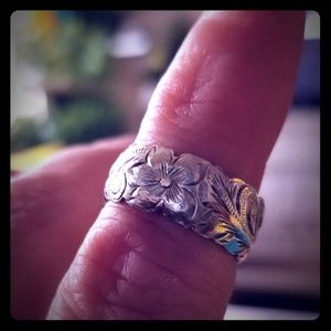 Vintage Sterling Silver Hand Etched Ring